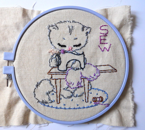 vintage embroidery transfer on essex linen