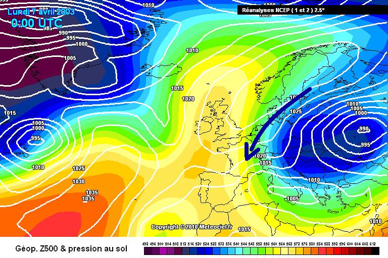 carte de situation lors du coup de froid tardif du début avril 2003 météopassion
