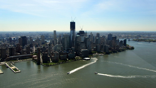 Downtown Manhattan and One World Trade Center from a helicopter