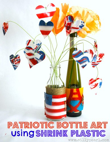 Patriotic Bottle Art using Shrink Plastic