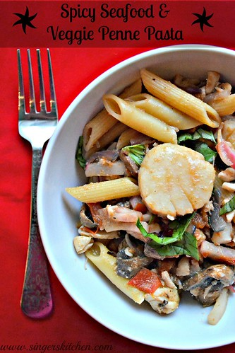 Spicy Seafood & Veggie Penne Pasta 1