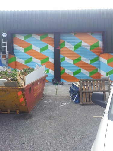 Shutters on a 12x3meter mural im painting, will have a full shot next week when venue opens by Carl Cashman