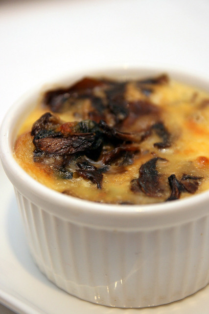 Strata Umbria: Savoury bread pudding with spinach & mushroom