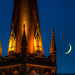 Seattle First Baptist Church Spire and Crescent Moon at Twilight by Michael Holden