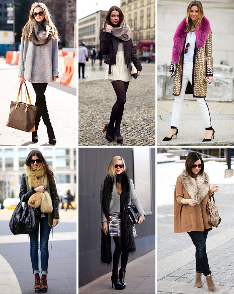 fur scarf collage