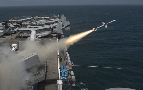 A Sea Sparrow (RIM-7P) missile is launched from the amphibious assault ship USS Boxer
