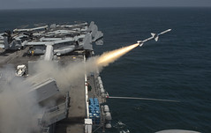 A Sea Sparrow (RIM-7P) missile is launched from the amphibious assault ship USS Boxer (LHD 4) July 18 during a missile firing exercise as part of COMPTUEX. (U.S. Navy photo by Mass Communications Specialist 2nd Class Kenan O'Connor)