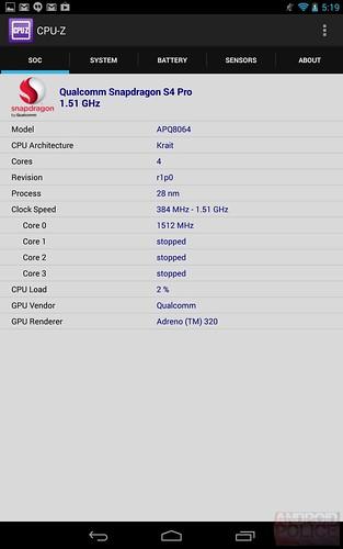 CPUZ Nouvelle Google Nexus 7