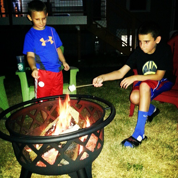 Perfecting the marshmallow roast #smores #nephews #firepit