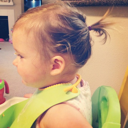 A very tiny ponytail.