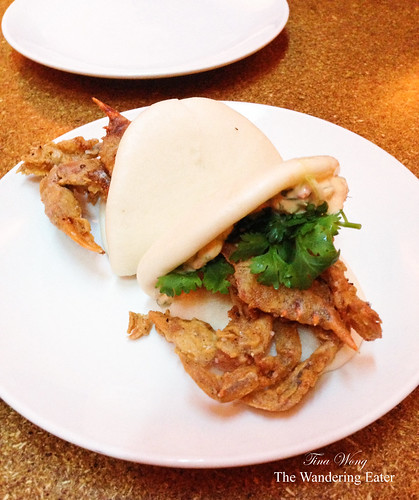 Soft shell crab buns with ginger-scallion, calabrian chili mayonnaise, cilantro