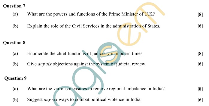 ISC Class 12 Political Science Sample Paper