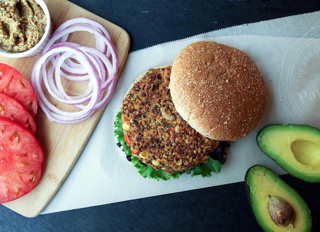Quinoa & White Bean Veggie Burgers Fixins