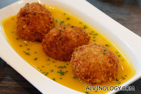 RISOTTO BALLS (Mozzarella-stuffed balls of risotto, breaded  in panko then deep fried and served over of rich pumpkin puree) - S$8.90