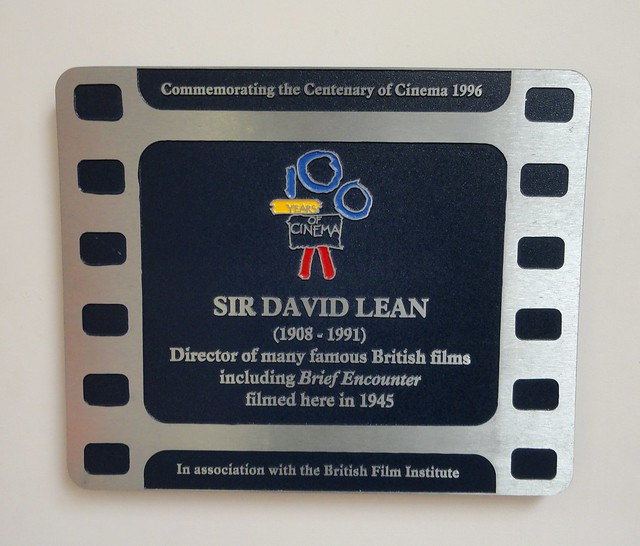 Photo of David Lean and Brief Encounter film cell plaque