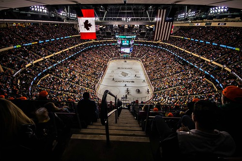 wild ice hockey minnesota nhl energy angle wide stpaul center flags arena railing faceoff rafters lightroom a55 xcel