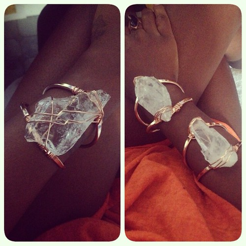 Premium Quartz Crystals in Copper Bracelets
