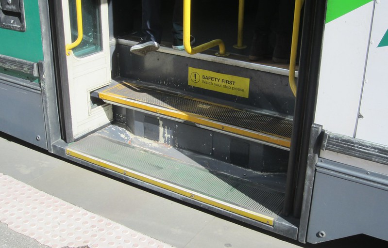 Platform tram stop, but step access to tram