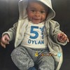 Baby Dylan is 5 months and looking quite handsome in his Personalized Jersey. Thanks for the awesome picture. Do you want your own see? Visit my Etsy store or purchase by clicking on the link below https://www.etsy.com/listing/455609588/boys-sports-jersey