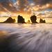 Motukiekie Wild Sunset by Jim Patterson Photography