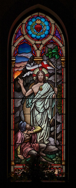 Most Sacred Heart Church, in Eureka, Missouri, USA - stained glass window of the Resurrected Christ