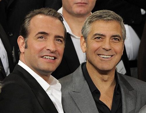 Oscars-Jean-Dujardin-and-George-Clooney