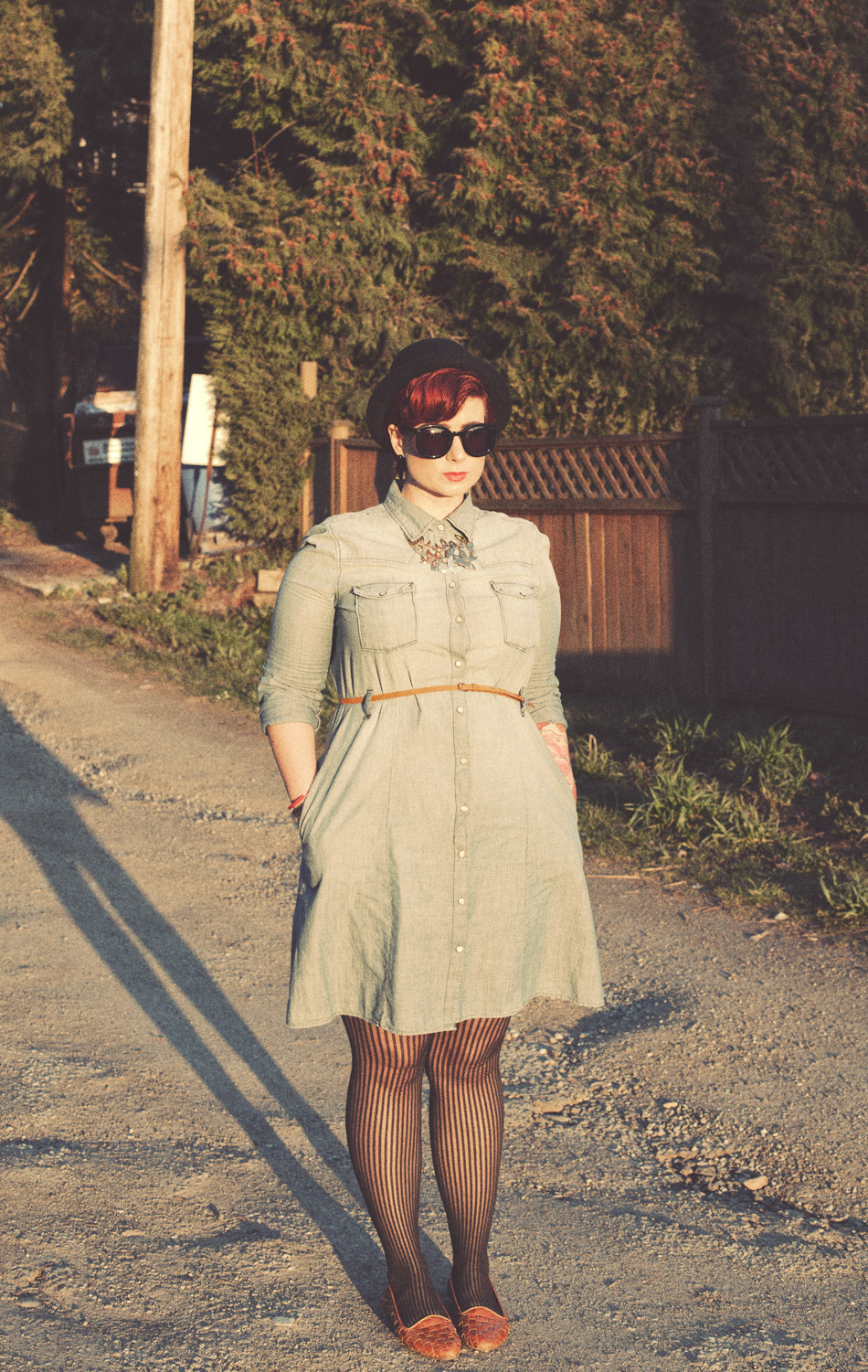 A full body photo of me, showing my denim dress. It's sunset and I'm casting a creepy, long-legged shadow
