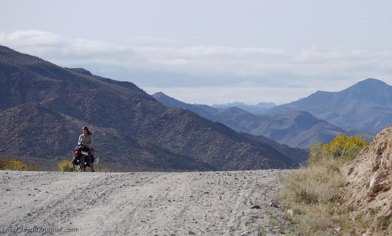 Sheila, climbing in remote Baja