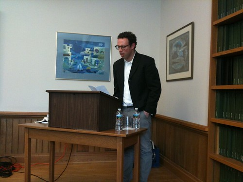 Harris Feinsold introducing Nathaniel Tarn before his reading