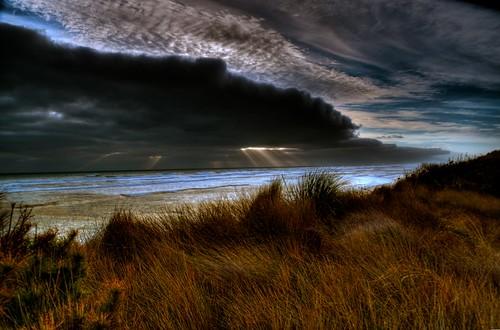 sunset beach clouds auckland nz muriwai hdraddicted hrdphotomatixpro