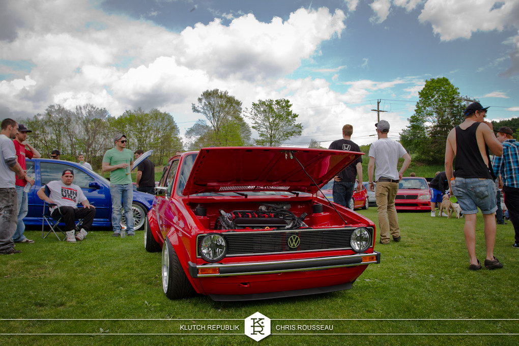 red mk1 vw rabbit low and fitted on bbs rs wheels with airride and 3.2l vr6 engine at staggered 2012
