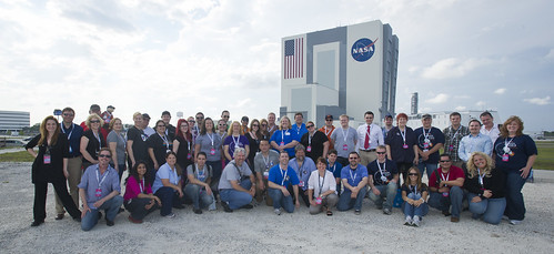 The attendees of the NASA Social on May 18-19, 2012, in front of the Vehicle Assembly Building at Kennedy Space Center