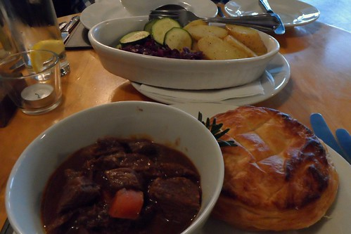 Steak & Ale Pie main course at the Grange Restaurant in North Berwick, Scotland