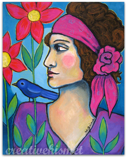 woman with bird by Regina Lord