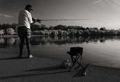 Fishing the Tidal Basin BW