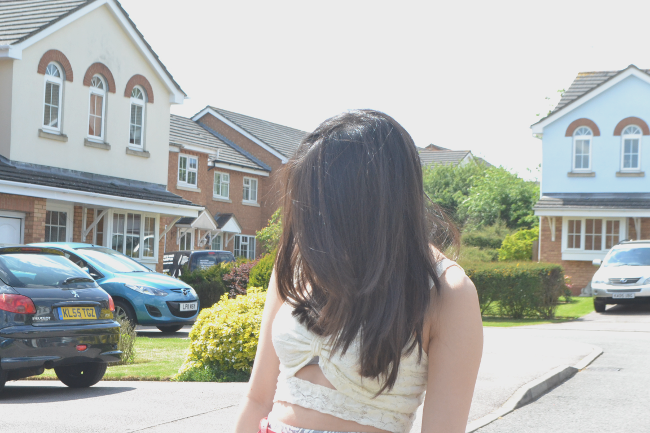 Daisybutter - UK Style and Fashion Blog: what i wore, ootd, cut out lace bralet, midi length haircut