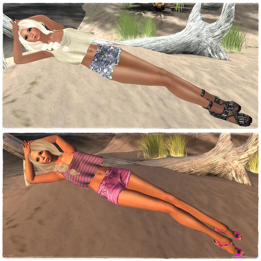 Eyelure Denim Shorts & Swing Crop Top