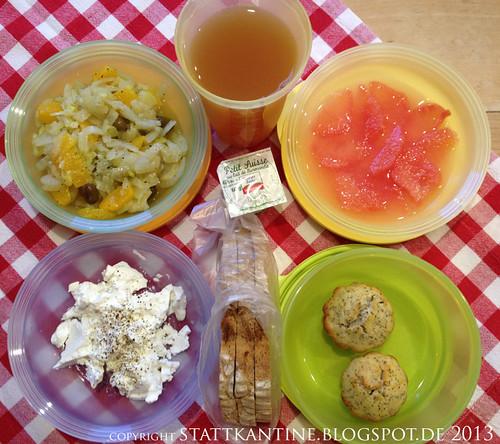 Stattkantine 26. März 2013 - Fenchelsalat mit Orangenfilets, Ziegenfrischkäse, Zitronen-Mohn-Muffins