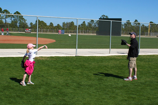 Me & Jayna playing catch at Red Sox Spring Training Camp