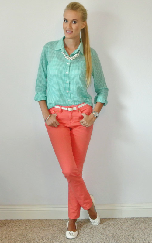 Outfit: mint gingham and coral skinnies