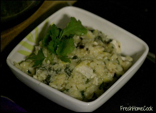 Chicken & Leek Risotto w/Black Garlic & Lemon