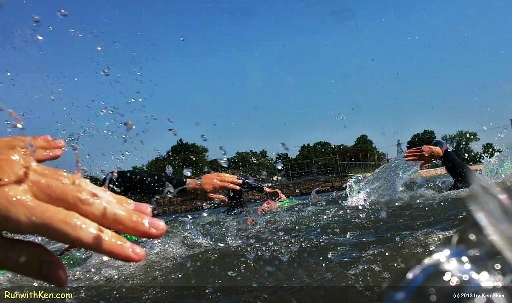 Join me in the blender!  Open Water Swimmers at the Wild Fish 1 and 2-mile Swim in Salem, MA. by runwithken