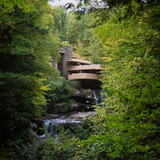 An iconic view of Fallingwater from a short distance down Bear Run.