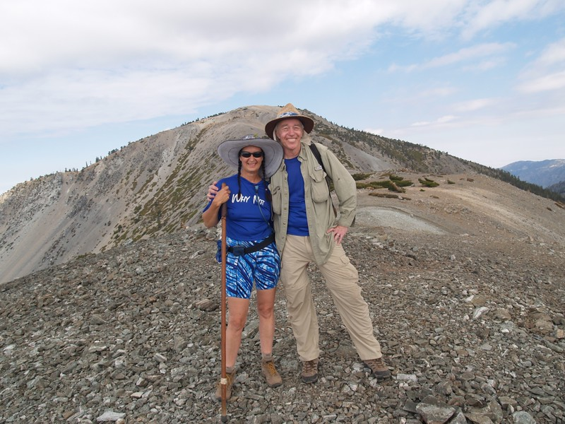 The two of us standing on the summit of Mount Harwood with Mt. Baldy behind us