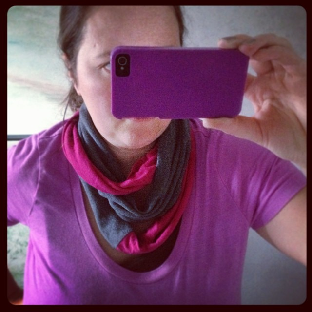 BOOM. Scarf. Quickest project ever and wow did I need a win today. #upcycle #scarf #tshirt #sewing #sew #hipster