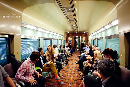 Interior of the vintage train with the attendees