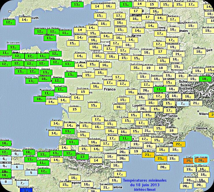 températures minimales et record du Cap Corse le 18 juin 2013 météopassion