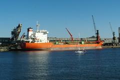 Öl- und Chemiekalien-Tanker DALE im Hafen von Gdansk (PL)