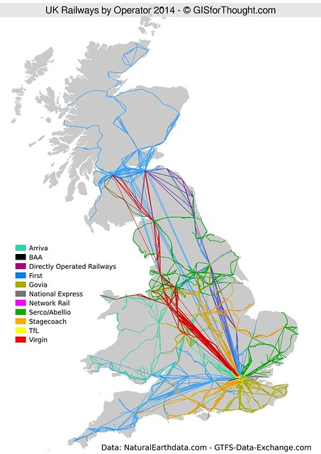 Train Routes In Scotland Map.Uk Rail Network Visualized By Operator Gis For Thought