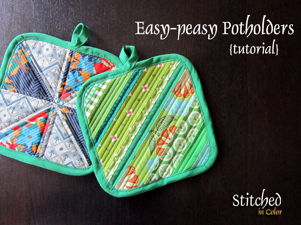 Easy Potholders tutorial with store bought binding